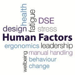 Word cloud containing the phrases design, health, fatigue, DSE, stress, human factors, ergonomics, leadership, wellbeing, manual handling, behaviour change