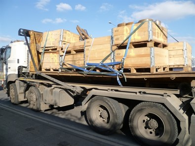 Flatbed with crates